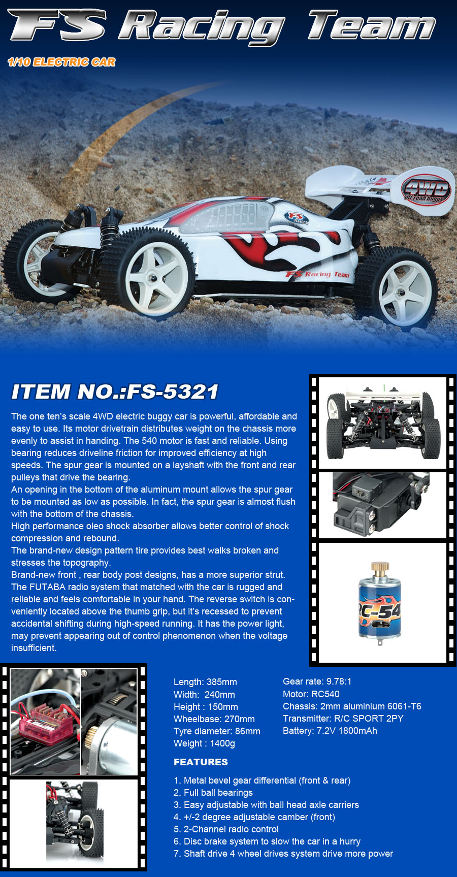 1:10 Scale Electric RC Car